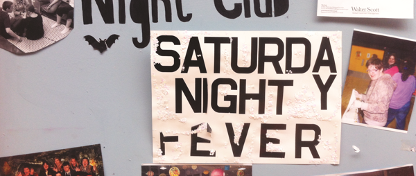 Saturday night club noticeboard with photos